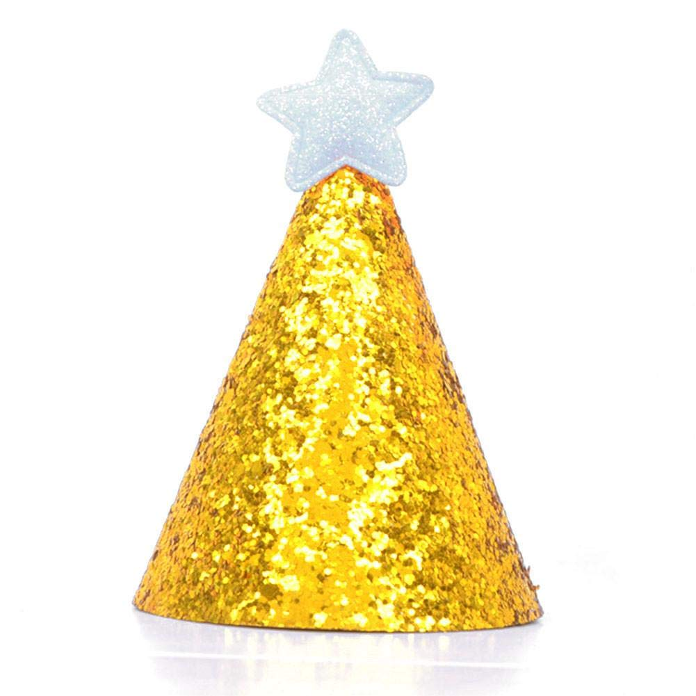 Kindlyperson Cake Topper Gold Glitter Sparkle Princess Birthday Cone Hat con Diadema Ajustable para Baby Girl Boy Party Supplies 2Pack