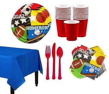 Suministros de fiesta temática deportiva para 16 invitados ...