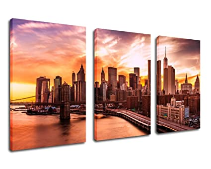 eab27f4207fe yearainn Canvas Wall Art Skyline Sunset Scenery of New York City Framed  Ready to Hang -