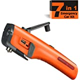 Emergency Tool Kit with LED Flashlight & USB Charger 7-in-1 Rescue Tool Vehicle Emergency Escape Tool with Window Breaker & Seat Belt Cutter Car Safety Hammer for Roadside / Automotive Emergency Kit