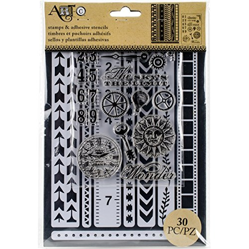 Art C Stamp & Adhesive Stencils Set - Border - Stencils Border Adhesive