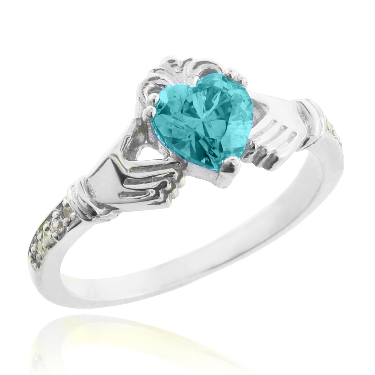 14k White Gold March Birthstone CZ Heart Claddagh Ring with Natural Diamonds (Size 6.75)