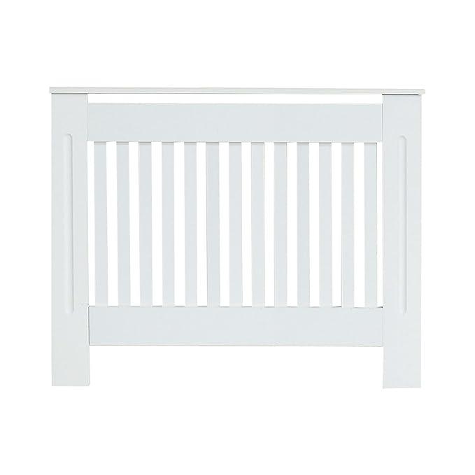 Cubierta para radiador de estilo tradicional - armario con rejillas verticales de alta calidad MDF, color blanco, small: Amazon.es: Hogar