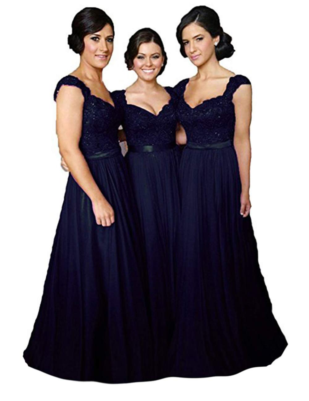 Fanciest Women Cap Sleeve Lace Bridesmaid Dresses Long Wedding Party Gowns Navy Blue Us16