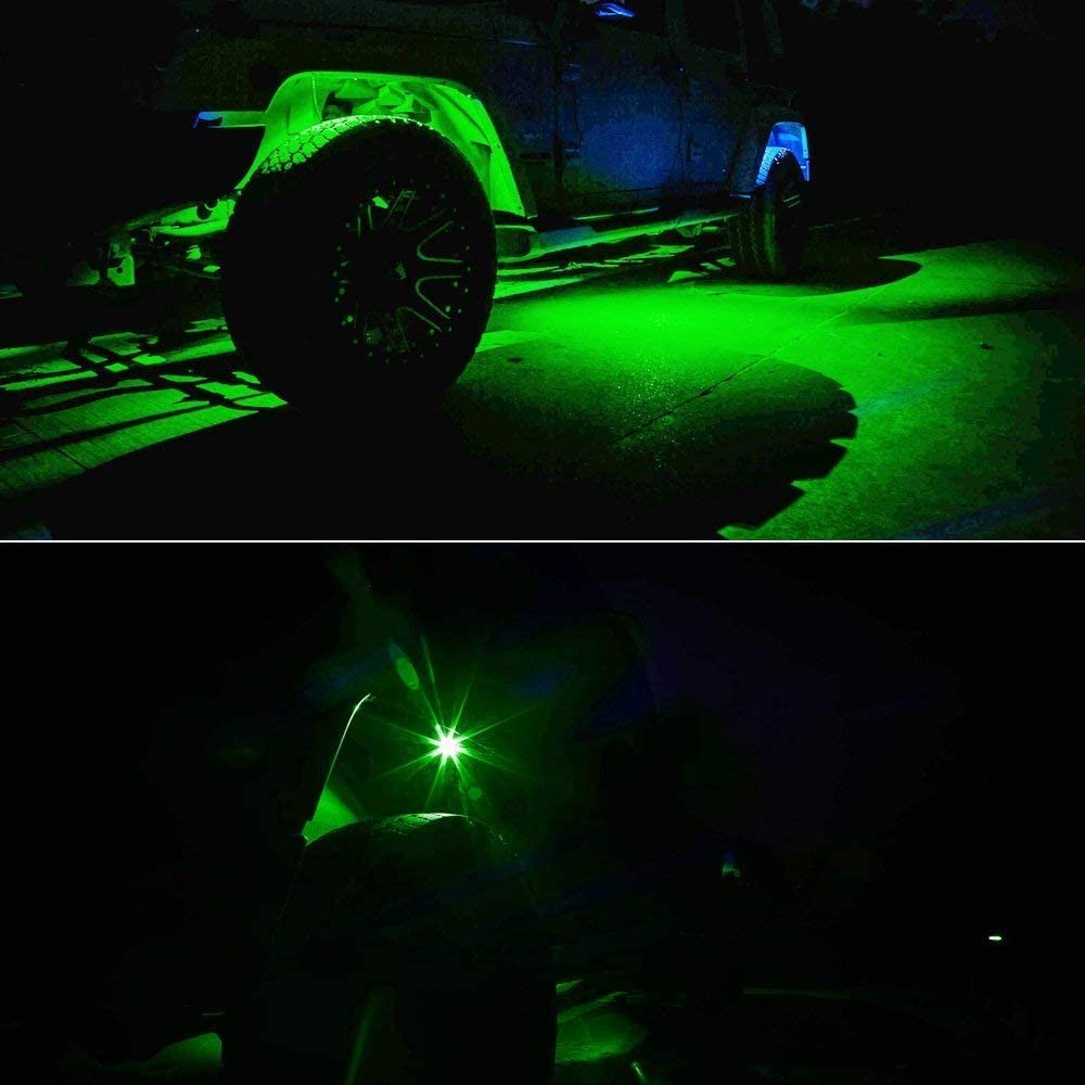 Bluetooth Led Rock Light for Trucks ATV Jeep Underground Glow Trail Rig Lamp Timing Light Function 4 Pods RGB Led Rock Lights with Application Control Cross-Country Truck Flashing Music Mode