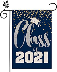 CROWNED BEAUTY Class of 2021 Congratulations Garden Flag 12×18 Inch Double Sided Vertical Diploma Cap College 2021 Graduation Yard Outdoor Decoration CF143-12
