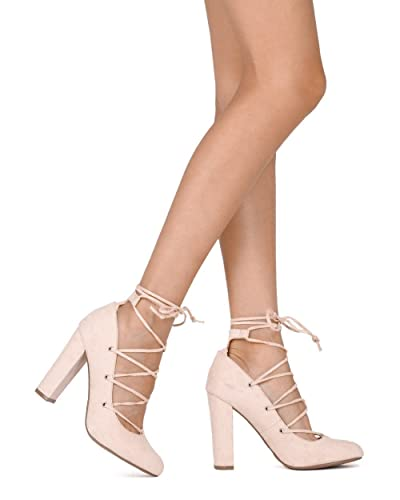 79ff625940f Alrisco Women Faux Suede Lace Up Block Heel Pump HE55 - Nude Faux Suede  (Size