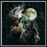 LLguz Wolf 5D Embroidery Paintings Rhinestone Pasted DIY Diamond Paintings Part Round Embroidery Kits Arts Home Decoration Wall Decoration