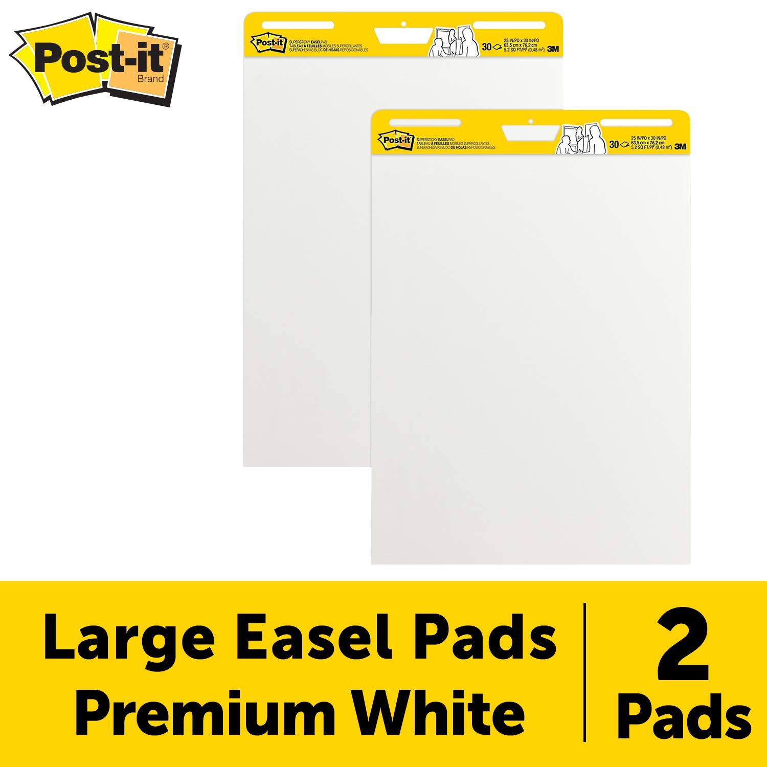 25 x 30 Inches 2 Pads Bullet Tip 30 Sheets//Pad Assorted Colors Large White Premium Self Stick Flip Chart Paper /& Sharpie 22480PP Flip Chart Markers Post-it Super Sticky Easel Pad
