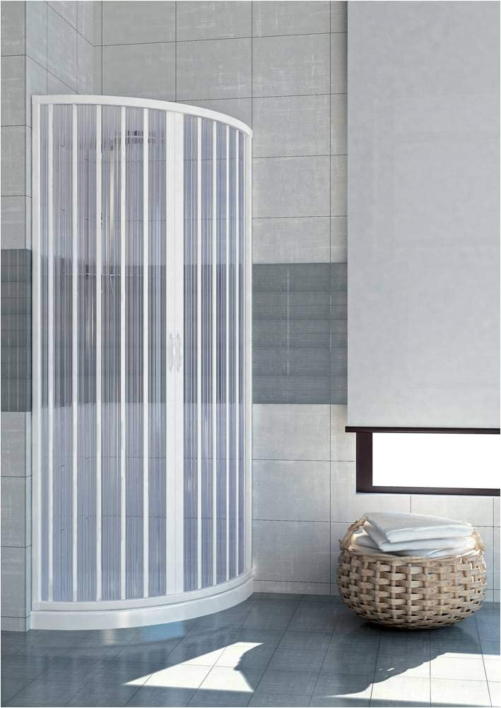 GRANISUD Mampara Ducha Semi-Circular Extensible en PVC Apertura Central Dos Hojas, 75 x 75 cm, H 185 cm, Blanco: Amazon.es: Hogar