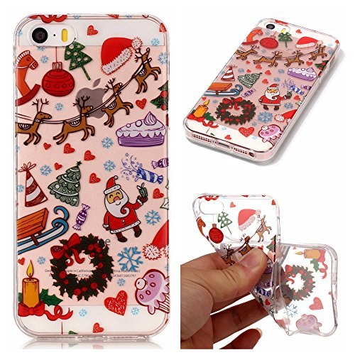 iPhone 5C Case, [Christmas] Series Ultra Thin Painting Case Transparent Soft TPU Xmas Phone Anti-Scratch Protective Cases Cover for Apple iPhone5C-D