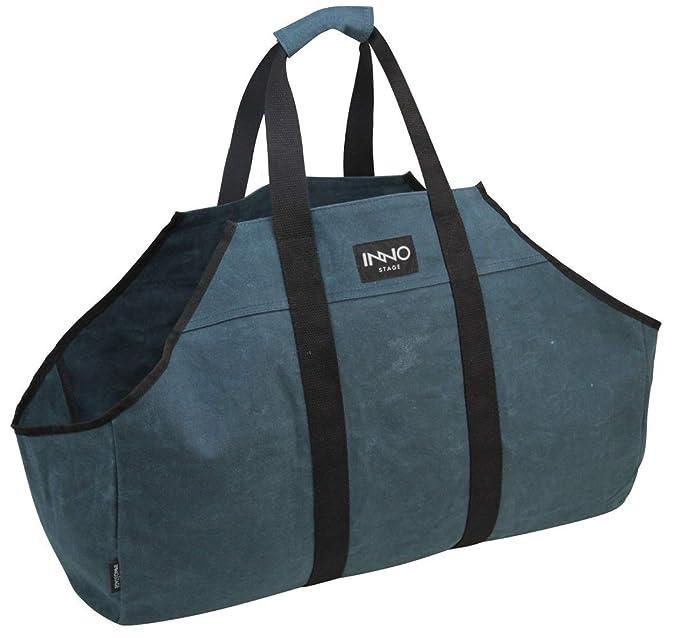 Inno Stage, borsa resistente tela cerata, borsa grande per legna da ardere, portalegna, accessorio per legna Dark Blue