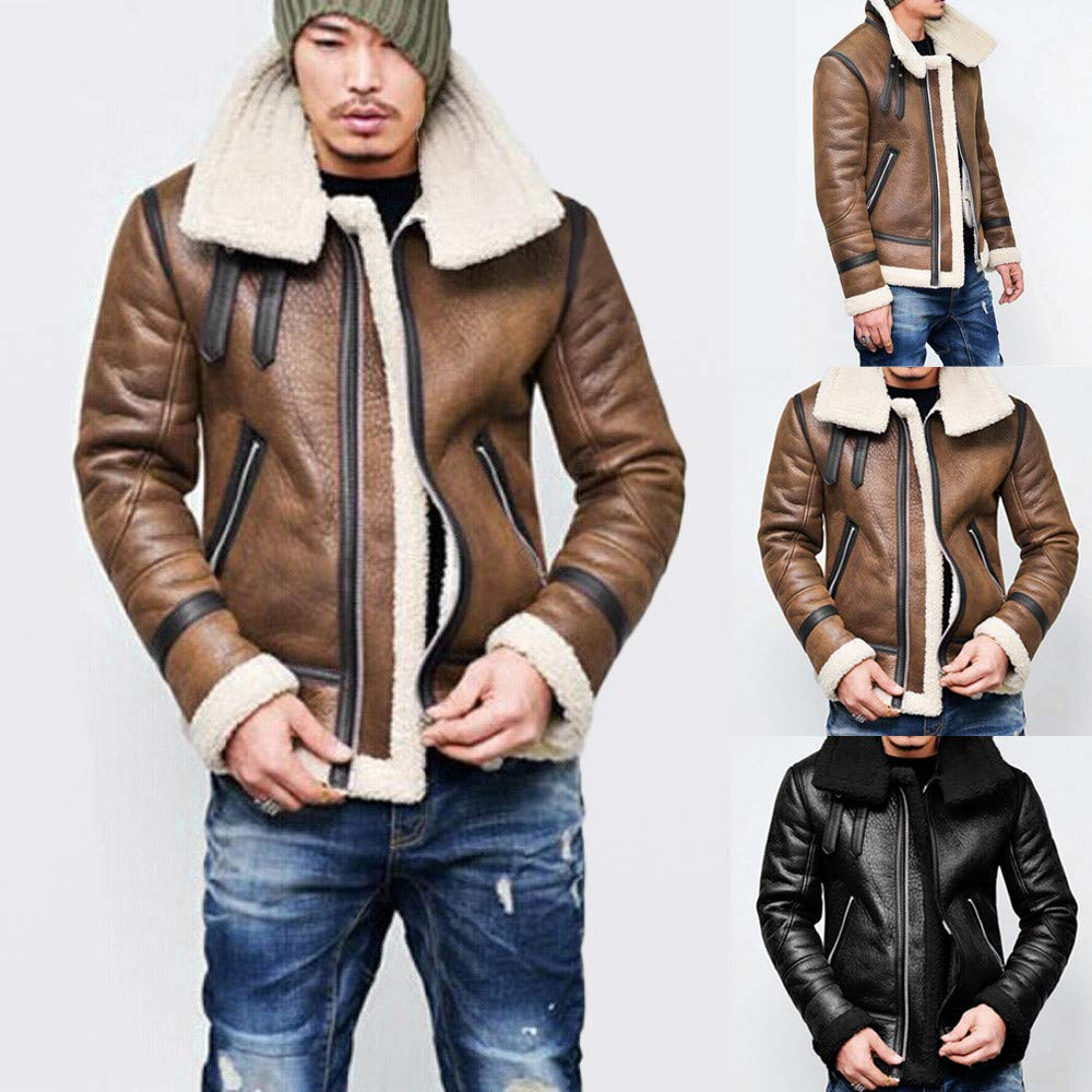 Amazon.com : Ennglun Military Jacket Men, Men Winter Highneck Warm Fur Liner Lapel PU Leather Outwear Tops Coat, Coat Men Winter(4XL, Brown) : Pet Supplies