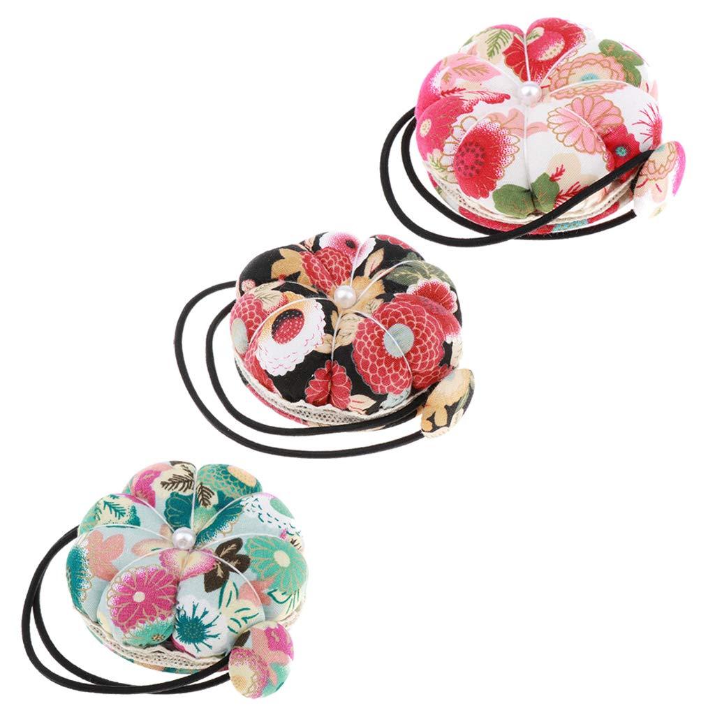 Wrist Wearable Pin Cushion Holder Cotton Pincushion Sewing Supplies Green
