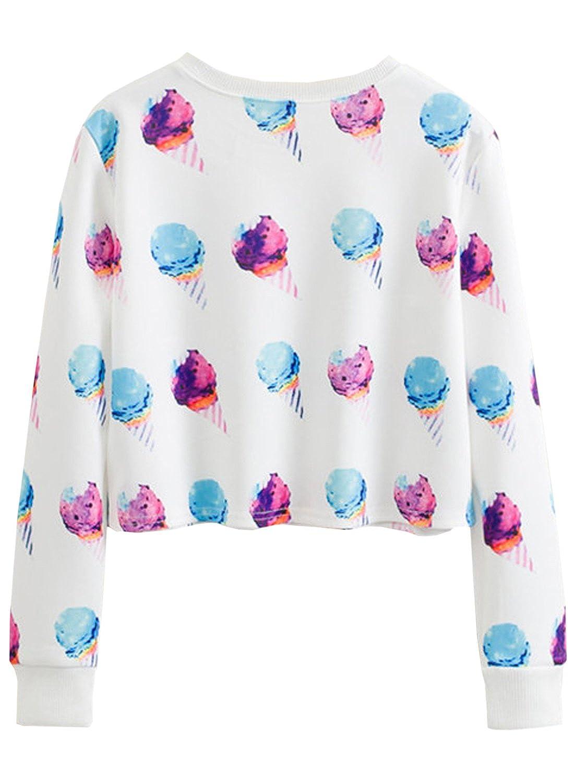 futurino Womens Cute Animal Printed Sweatshirt Long Sleeve Crewneck Pullover Crop Top Sweatshirt