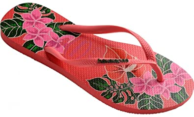 5402edf61 Image Unavailable. Image not available for. Colour   Havaianas Slim Floral Coral  Womens Summer Flip Flops