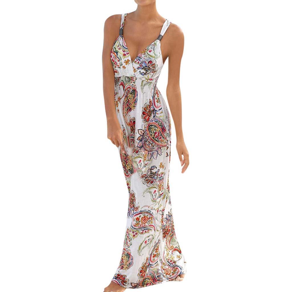 Goosuny Damen Sommerkleider Lang V-Ausschnitt Blumen Strandkleider Bohemian Sleeveless Gedruckt Trägerkleid Sexy Sommer Kleid Partykleid
