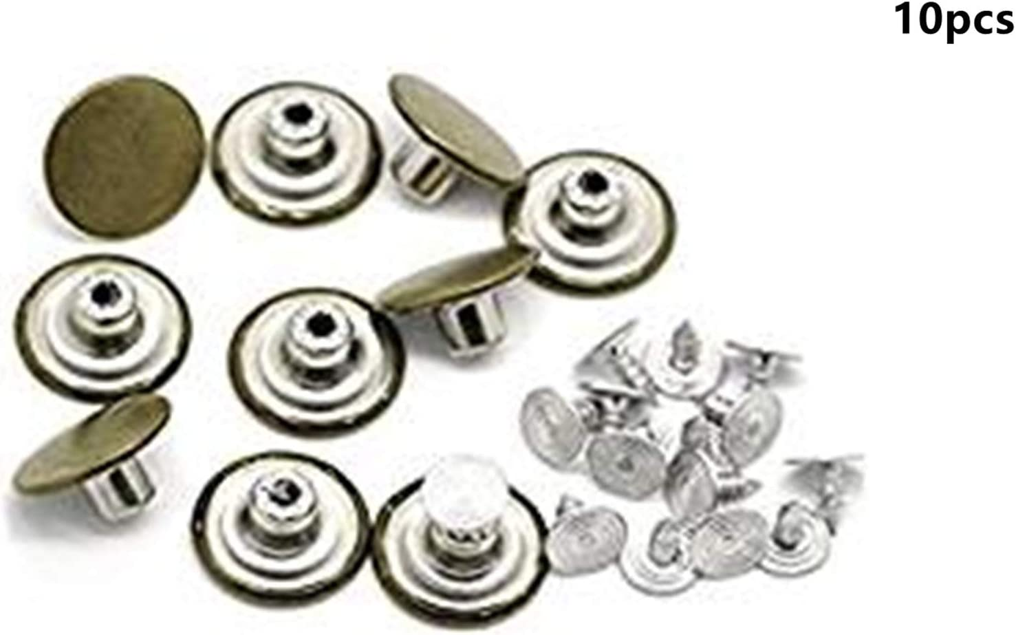 10pcs Metal Replacement Instant Suspender Clothes Jeans Buttons Accessories NEW