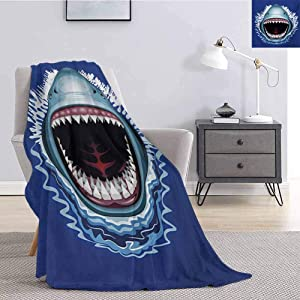 Luoiaax Shark Commercial Grade Printed Blanket Attack of Open Mouth Sharp Teeth Sea Danger Wildlife Ocean Life Cartoon Queen King W60 x L70 Inch Navy Blue Grey Fuchsia