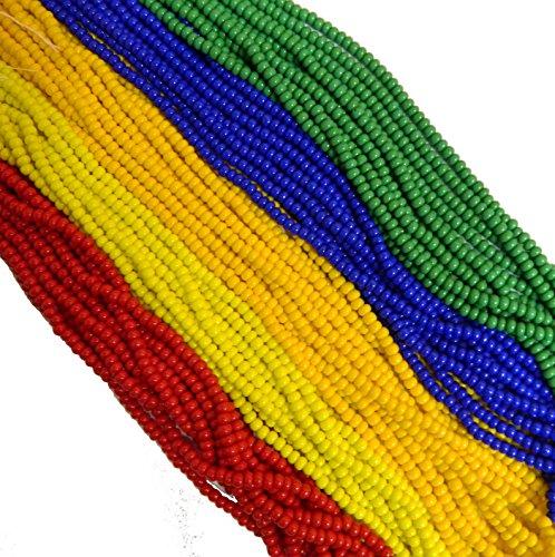 Glass Green Bead - Czech 11/0 Glass Seed Beads - Opaque Rainbow Mix (5 X 6-string Hanks) Preciosa Jablonex
