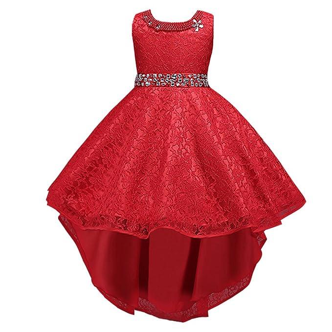 LSERVER-Abito in Pizzo con Coda Ragazza con Diamanti Bambine Vestito  Principessa Abiti da Sera Matrimonio Cerimonia  Amazon.it  Abbigliamento b467a7bded2