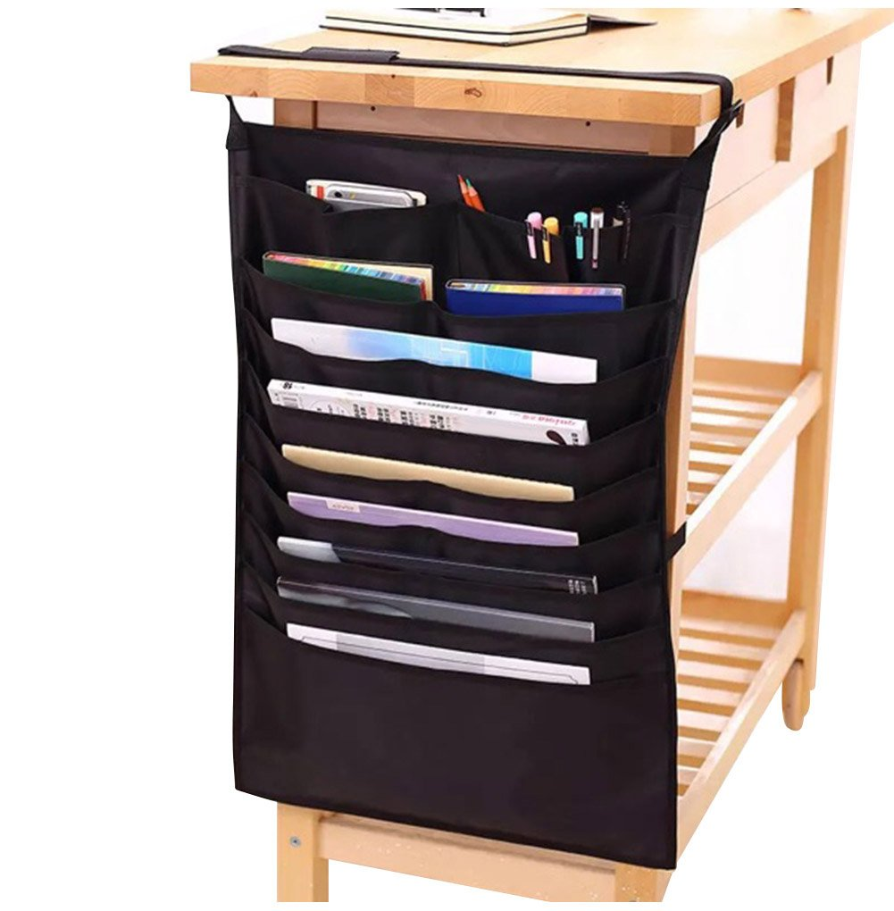 Heavy-duty Home Office School Desk Table Hanging File Book Newspaper Magazine Tidy Organizer Rack Pockets Desktop Display Space-saving Holder Storage Bag,Black
