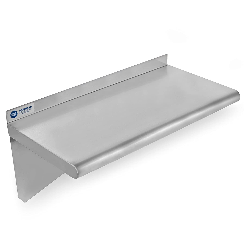"GRIDMANN NSF Stainless Steel Kitchen Wall Mount Shelf Commercial Restaurant Bar w/Backsplash - 12"" x 24"""