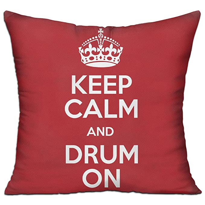 Amazon.com: CY STORE Keep Calm And Drum On Square Cotton ...