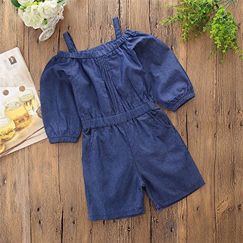 Pinleck Toddler Little Girls Cami Strap Denim Jumpsuit Summer Long Sleeve Overall Outfit by Pinleck (Image #2)