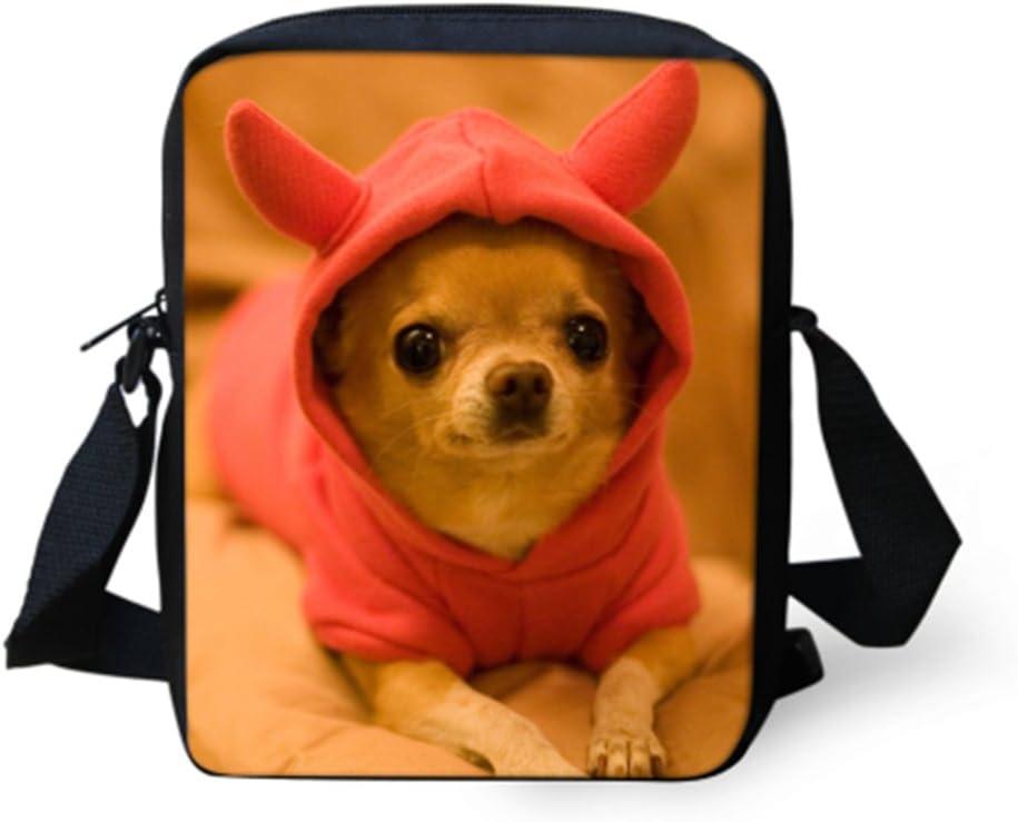HUGS IDEA Kawaii Mini Messenger Bag Chihuahua Printed Small Shoulder Handbags Satchel Travel Purse Wallet for Women Girls