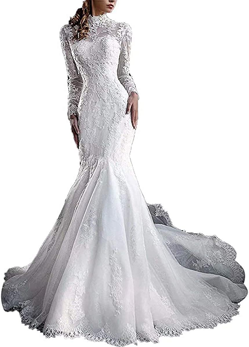 Sales of SALE items from new works Max 70% OFF Yuxin Women's High Neck Lace 2021 Wedding Mermaid Dress Elegant