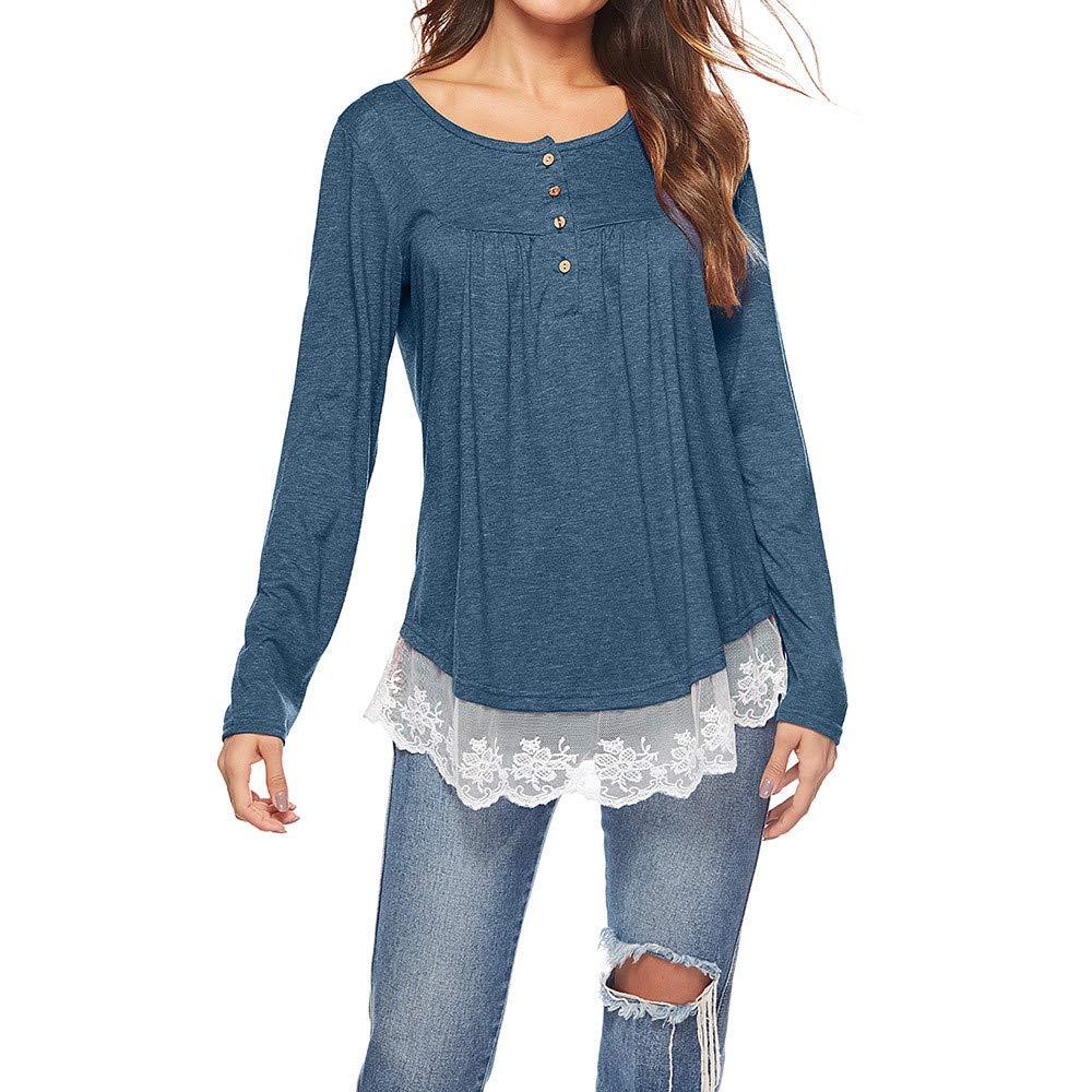 COPPEN Women Blouse Button Down Long Sleeve Lace V Neck Patchwork Autumn Tops T-Shirt (XXL, Blue)