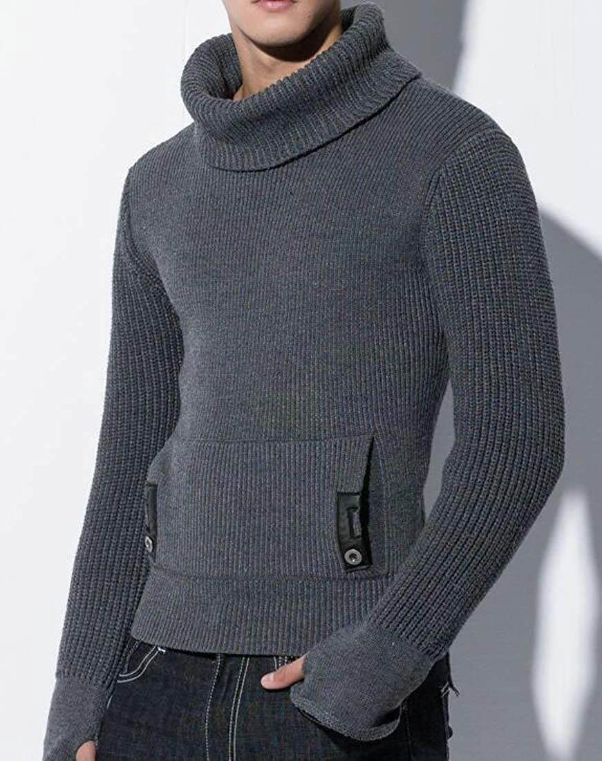 Cromoncent Mens Turtle Neck Thick Jumper Knit Pullover Winter Sweaters