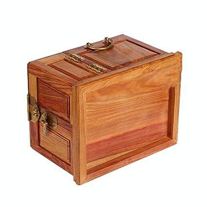 FOKN Caja De Joyería De Caoba Caoba Antigua Caja De Vestuario Gran Caja De Joyería De Madera Caja De Cosméticos De Bloqueo De Madera,A-31cm*24cm*20.5cm: ...