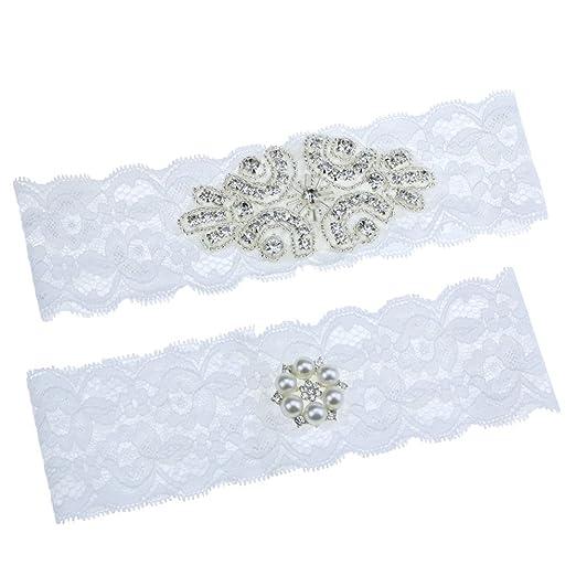 1c3fe58e2ae Topwon Wedding Garter Set Bridal Garter Lace Garter Keepsake and Toss Garter  (