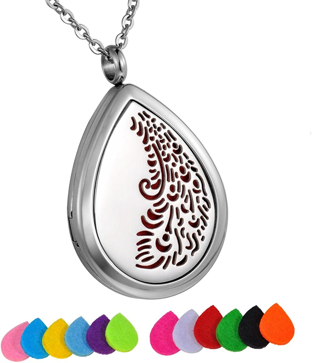 HooAMI Aromatherapy Essential Oil Diffuser Necklace - Stainless Steel Pteris Waterdrop Locket Pendant
