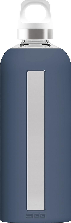 Sigg Star Midnight, Botella de Agua de Vidrio con Funda de Silicona, 0.85 L, Resistente al Calor, sin BPA, Azul Oscuro