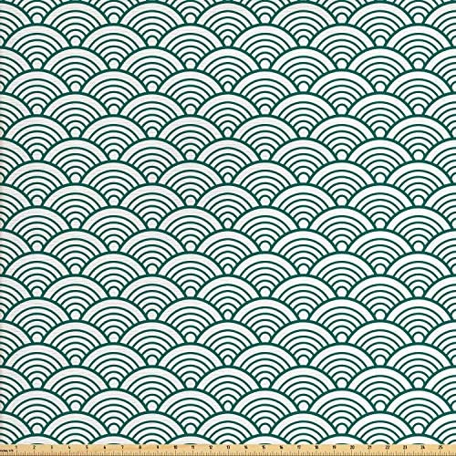 Ambesonne Teal Fabric by The Yard Traditional Japanese Chinese Seigaiha Pattern Abstract Scales Inspirations Decorative Fabric for Upholstery and Home Accents 1 Yard Jade White