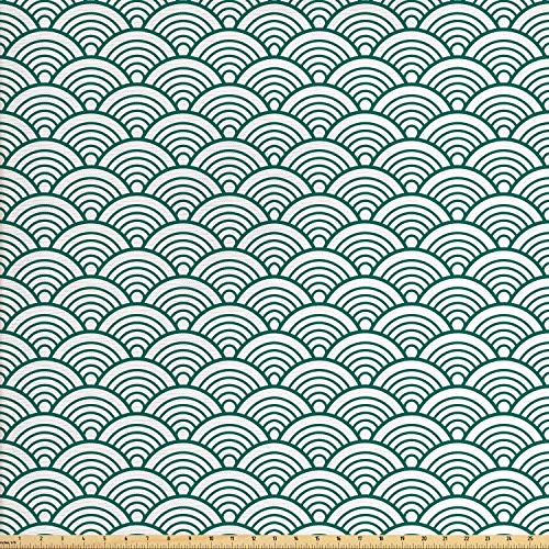 Ambesonne Teal Fabric by The Yard, Traditional Japanese Chinese Seigaiha Pattern Abstract Scales Inspirations, Decorative Fabric for Upholstery and Home Accents, 2 Yards, Jade White ()
