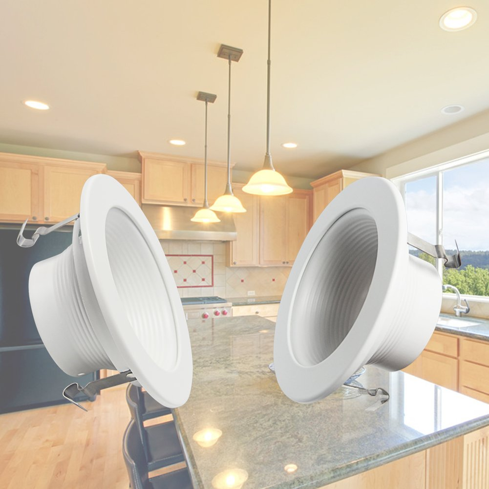 Signstek 6 Pack 4 Inch Recessed Can Light Trim with Baffle Design, Fit Halo Remodel Recessed Housing