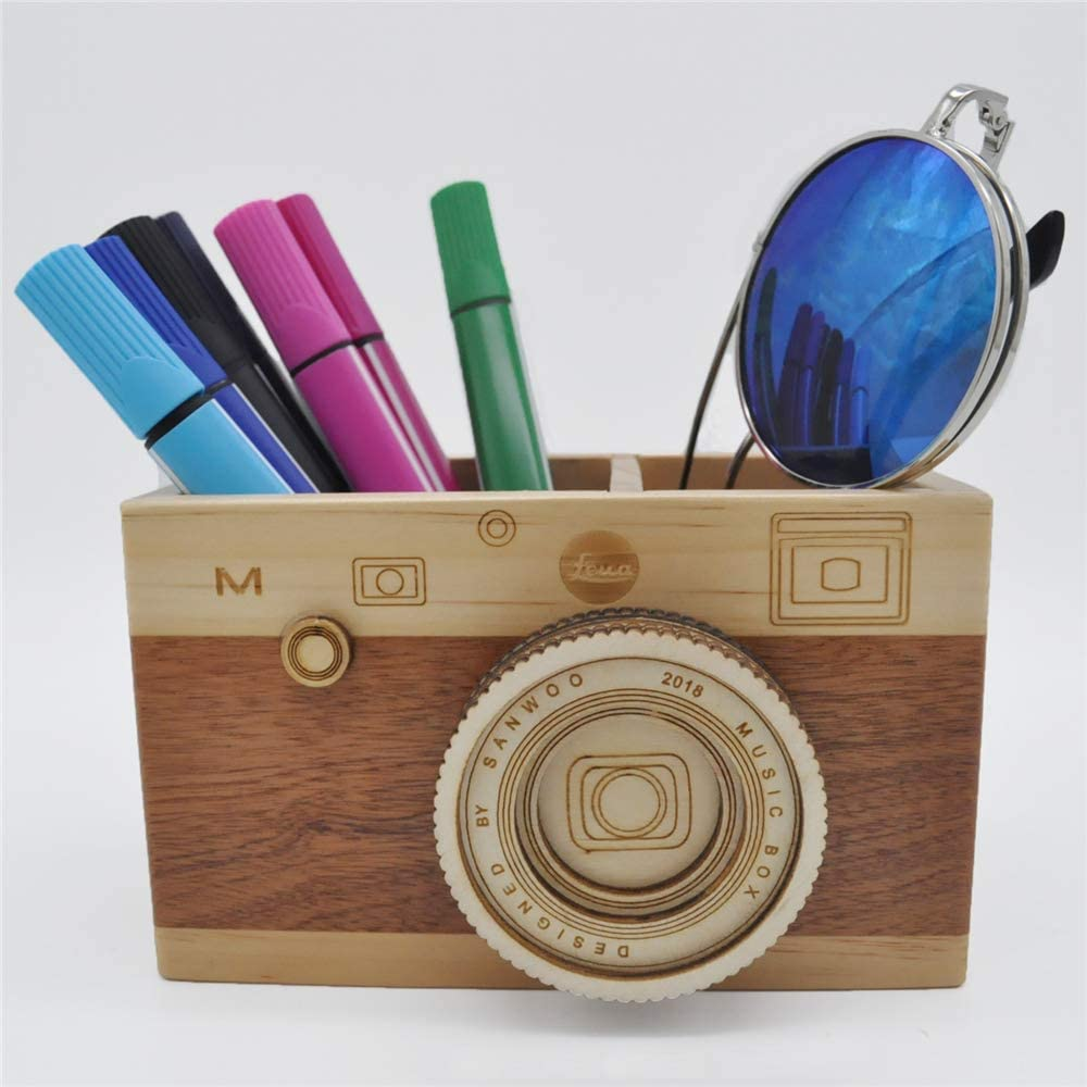 Zak-ka Camera Wooden Pencil Holder Creative Desktop Pencil Holder Stationary Makeup Organizer Decor Holder for Office Home (camera)
