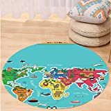 Kisscase Custom carpetColorful Educational Kids Maps Decor Collection North South America Africa Asia Australia Pacific Indian Atlantic Ocean Bedroom Living Room Dorm