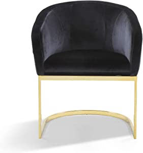Iconic Home Siena Accent Club Chair Shell Design Velvet Upholstered Half-Moon Gold Plated Solid Metal U-Shaped Base Modern Contemporary Black
