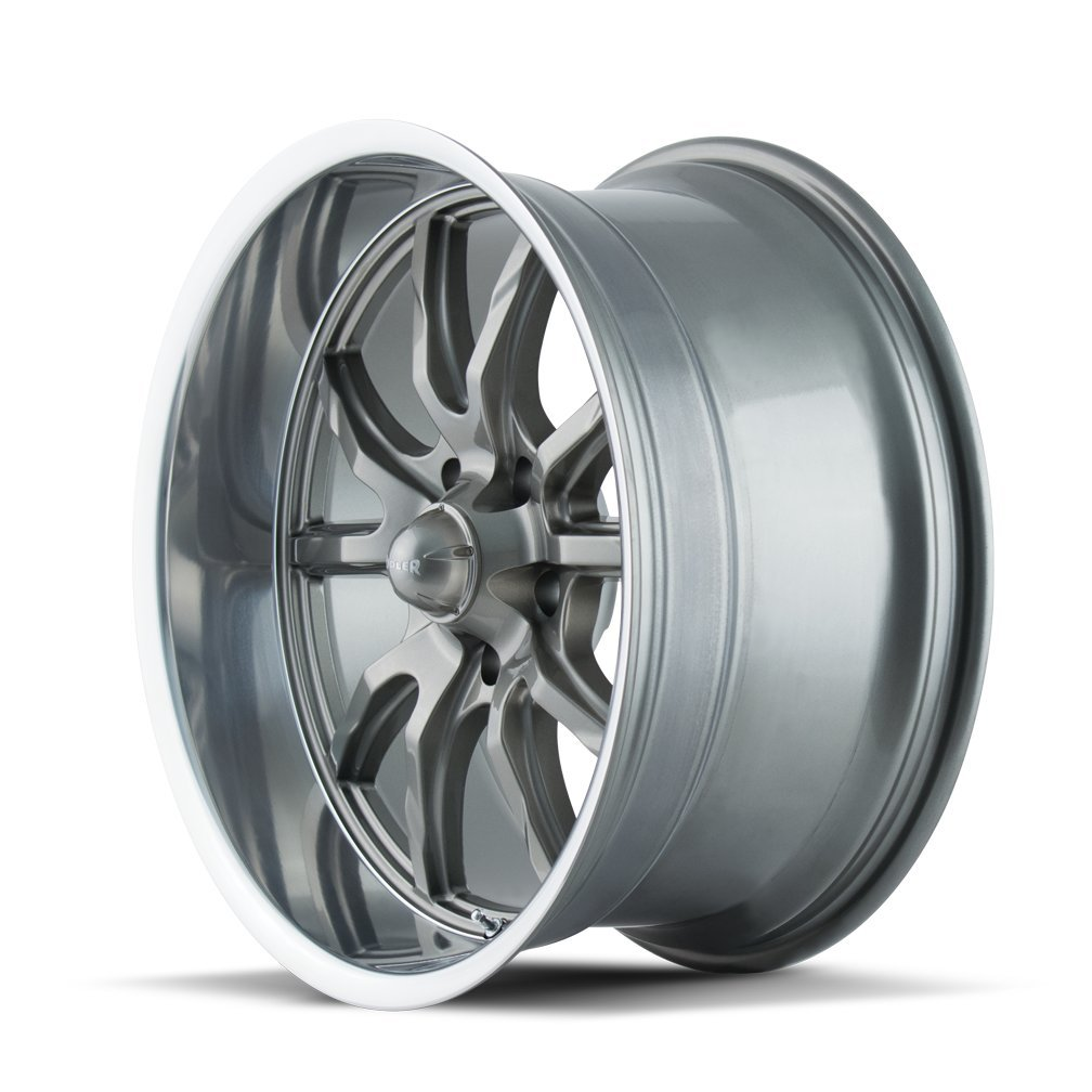 Ridler 650 Grey//Polished Lip Wheel Finish 20 x 10. inches //5 x 127 mm, 0 mm Offset