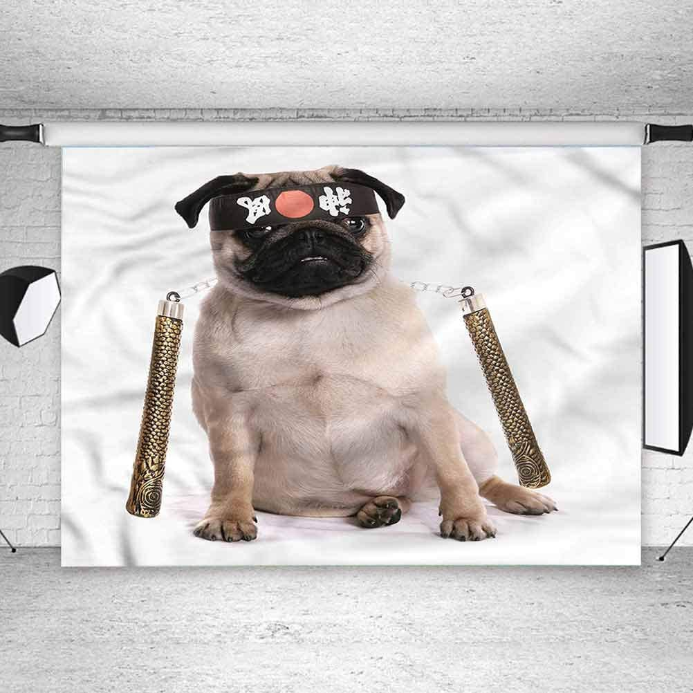 5x5FT Vinyl Photo Backdrops,Pug,Martial Art Ninja Puppy Photoshoot Props Photo Background Studio Prop