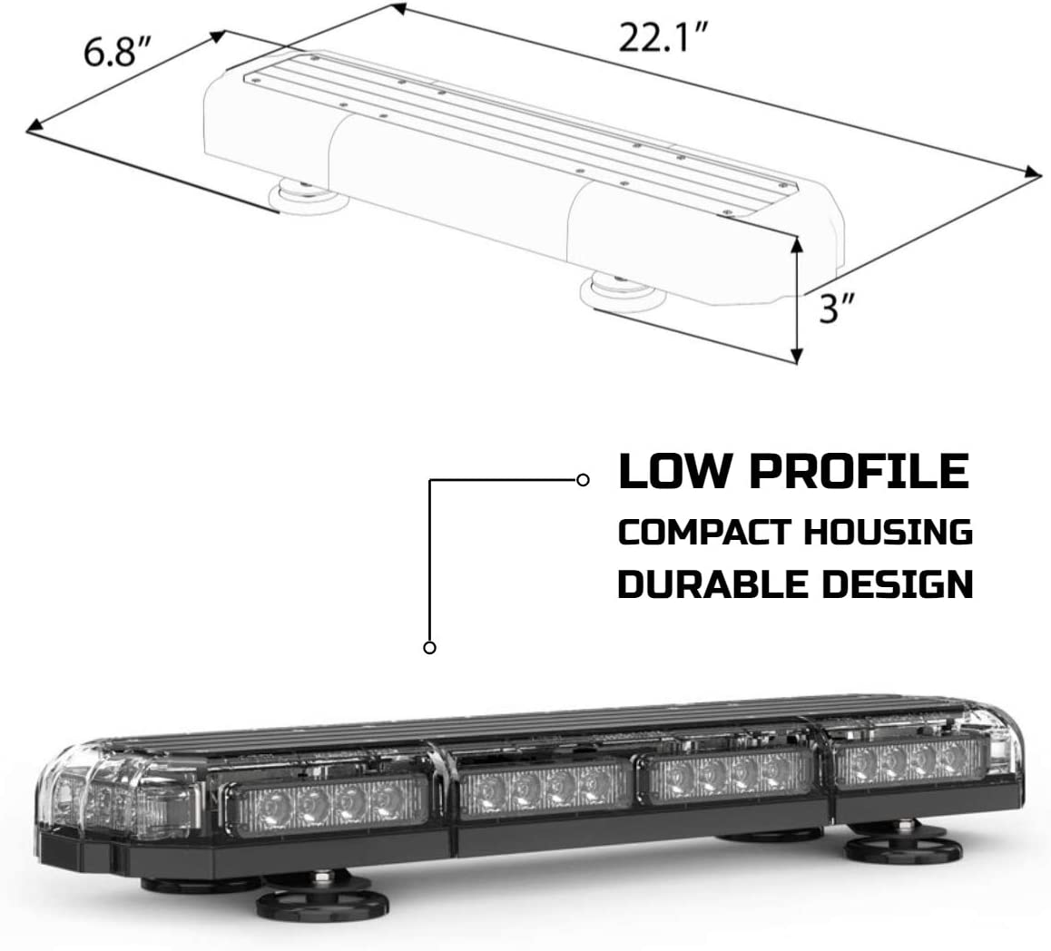 Plows SpeedTech Lights Mini 21 120 Watts LED Strobe Lights for Trucks and Emergency Vehicles with Magnetic Roof Mount in Blue//Green Cars