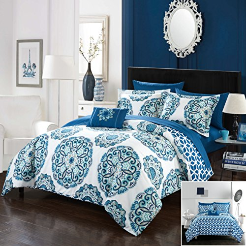 Chic Home 8 Piece Hilda Super soft microfiber Large Printed Medallion REVERSIBLE with Geometric Printed Backing Full/Queen Comforter Set Blue