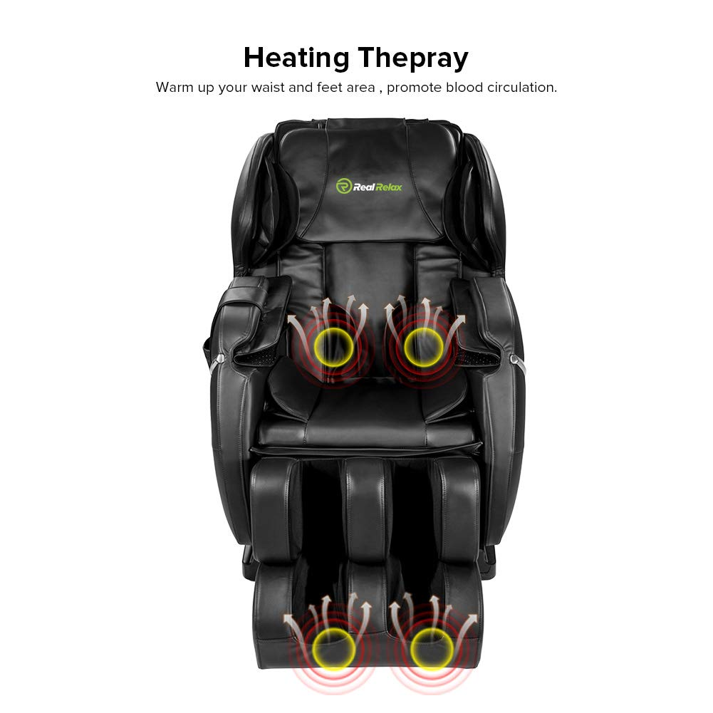 Real Relax Massage Chair, Full Body Zero Gravity Shiatsu Recliner with Heat and Foot Rollers, Black by Real Relax
