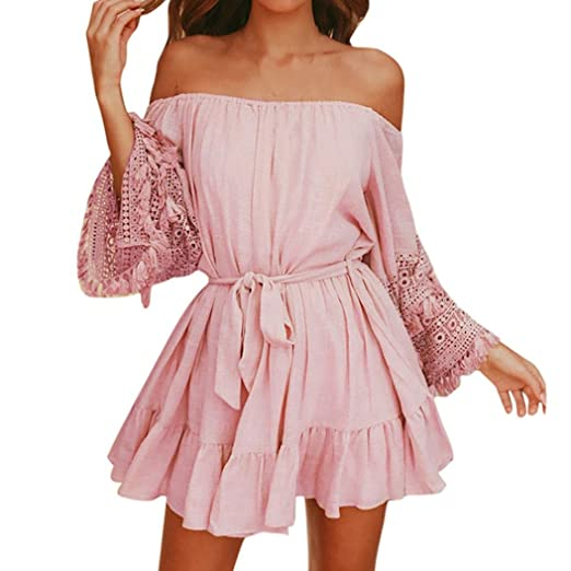 d91937a47ff Fanteecy Women Summer Off Shoulder Lace Crochet Tassel Trim Sleeve Belted  Ruffle Hem Mini Dress (