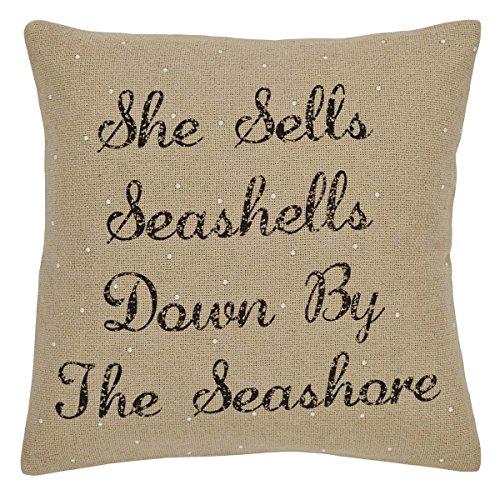 VHC Brands Coastal Pillows & Throws - She Sells Seashells White Down 18